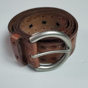 Fossil eyelet and studded leather belt
